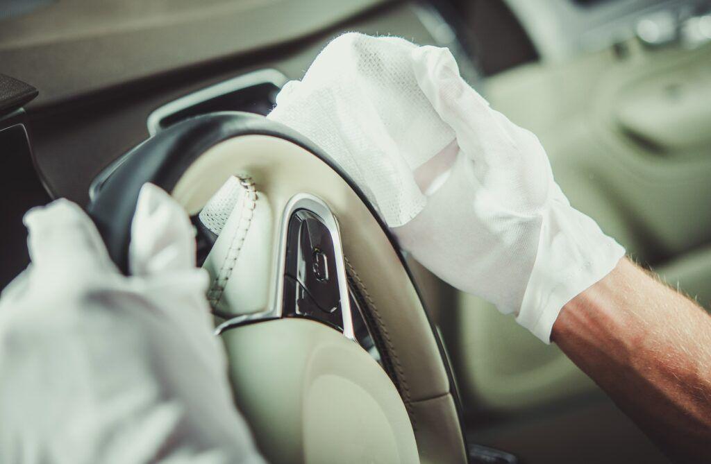 Cleaning Car Steering Wheel